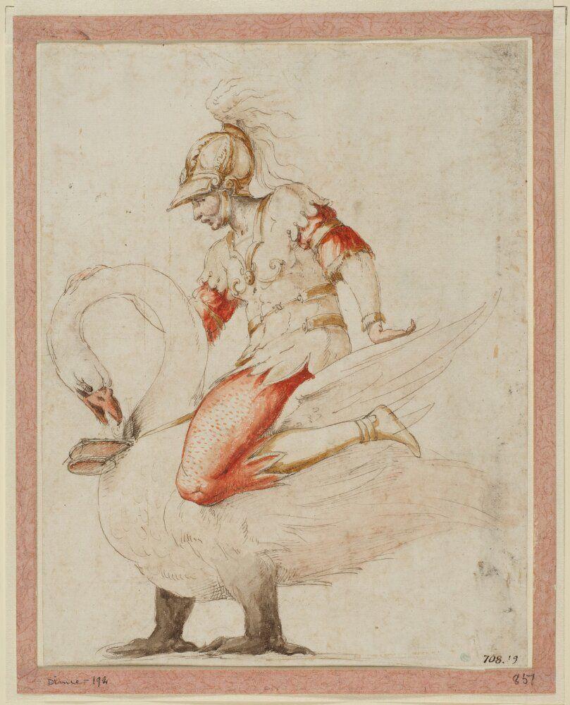 Primatice et atelier_Chevalier au cygne_plume encre aquarelle_Stockholm Nationalmuseum (002)